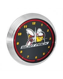 Dodge Scat Pack Neon Garage Man Cave Wall Clock Chrome Trim w/ Red Illumination
