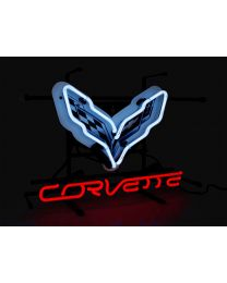 "Corvette C7 Neon White & Red Light Up Wall Sign 17"" x 12"""