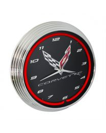 C8 Corvette Black & Chrome Wall Clock with Crossed Flags Logo & Red Neon Light