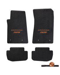 2010-2015 Camaro SS 4pc Ebony Classic Loop Floor Mats - Orange Logos on Fronts