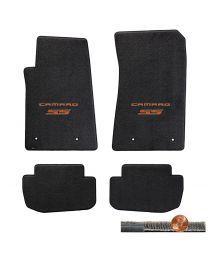 2010-2015 Camaro SS 4pc Ebony Black Ultimat Floor Mats - Orange Logos on Fronts