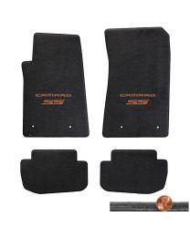 2010-2015 Camaro SS 4pc Ebony Black Velourtex Floor Mats - Orange Logo on Fronts