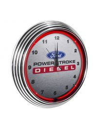 Ford Power Stroke Diesel Garage Wall Clock Chrome Trim w/ Red Neon Light