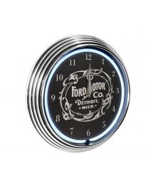 Ford Motor Company White Light Up Neon Garage Man Cave Wall Clock w/ Chrome Trim
