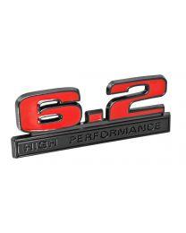 "Ford Mustang Red 6.2 High Performance Fender Emblem w/ Black Trim 5"" x 1.75"""