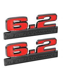 "Ford Mustang Red 6.2 High Performance 5"" Fender Emblems w/ Black Trim - Pair"