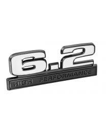 "Ford Mustang White 6.2 High Performance Fender Emblem w/ Black Trim 5"" x 1.75"""