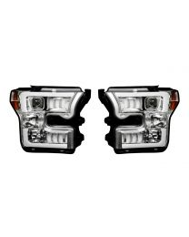 2015-2017 Ford F150 RECON Chrome Projector Headlights with LED Trim