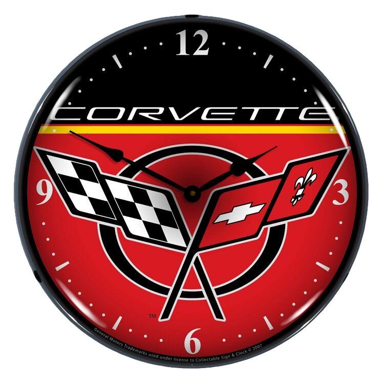 Chevrolet Corvette C5 Crossed Flags 14 Backlit Light Up Garage Wall Clock Red