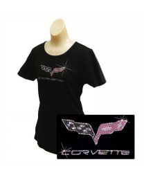 Women Ladies Black C6 Corvette Emblem Rhinestone Crystal Cotton T-Shirt - S