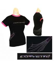Women Ladies Black Corvette Racing Emblem Rhinestone Crystal Cotton T-Shirt - S