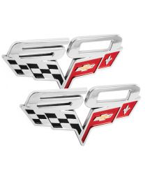 2005-2013 Corvette 60 Years Chrome Crossed Flags Exterior Fender Emblems - Pair