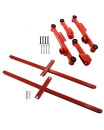 "1979-2004 Mustang Rear Upper Lower Control Arms & 43"" Subframe Connectors - Red"