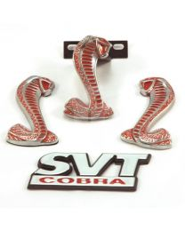 1994-04 Mustang SVT Cobra Red & Chrome Exterior Emblems - Grille Trunk & Fenders