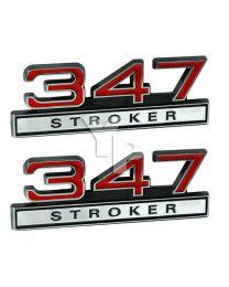 "347 347ci Stroker 5.7 Liter Engine Emblem Logo Badge Red & Chrome - 4"" Long Pair"