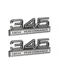 "345 345ci 5.7 Liter Block High Performance 4"" Emblems Black & Chrome - Pair"