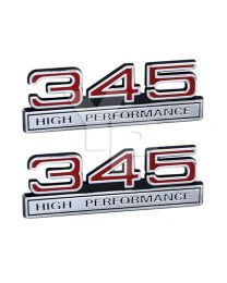 Red & Chrome 345 High Performance Emblem Badge Logo with Chrome Trim - Pair