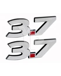 "2011-2014 Ford Mustang V6 3.7 Liter Chrome & Red Fender Emblems - 5.5"" Long Pair"