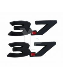 "2011-2014 Ford Mustang V6 3.7 Liter Black & Red Fender Emblems - 5.5"" Long Pair"