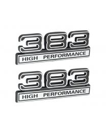 "383 High Performance 6.2L Engine Emblems Badges in Chrome & Black - 4"" Long Pair"