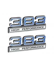 "383 High Performance 6.2L Engine Emblems Badges in Chrome & Blue - 4"" Long Pair"