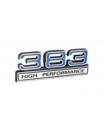 "383 High Performance 6.2L Engine Emblem Badge Logo in Chrome & Blue - 4"" Long"