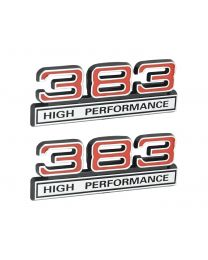 "383 High Performance 6.2L Engine Emblems Badges in Chrome & Red - 4"" Long Pair"