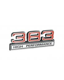 "383 High Performance 6.2L Engine Emblem Badge Logo in Chrome & Red - 4"" Long"