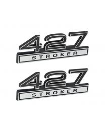 "427 Stroker 7.0 Liter Engine Emblems Badges in Chrome & Black - 4"" Long Pair"