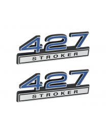 "427 Stroker 7.0 Liter Engine Emblems Badges in Chrome & Blue - 4"" Long Pair"