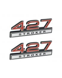 "427 Stroker 7.0 Liter Engine Emblems Badges in Chrome & Red - 4"" Long Pair"