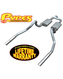 "1998-2004 Mustang V6 3.8L Pypes 2.5"" Stainless Exhaust System w 3"" Polished Tips"