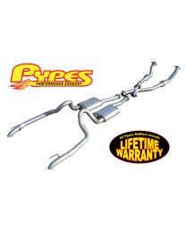 1998-2004 Mustang V6 Pypes SFM53 True Dual Exhaust Kit w/ Mufflers Catted X-Pipe