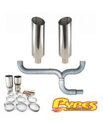 "Chevy 6.5L C2500 3500 Diesel Stainless 10"" Miter Pypes Dual Stack Exhaust Kit"