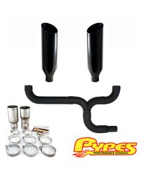 "10"" Miter Cut Black Double Stack Stainless Pypes Exhaust Chevy 2500 3500 Diesel"