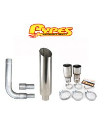 "10"" Miter Cut Single Stack Stainless Pypes Exhaust Kit Chevy 2500 3500 Diesel"