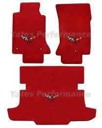 C5 Corvette Coupe & Hatchback Torch Red Floor & Trunk Mats Set Black Flags Logo