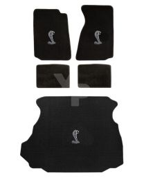1994-1998 Ford Mustang Coupe Black 5pc Floor & Trunk Mats Set - Cobra Snake Logo