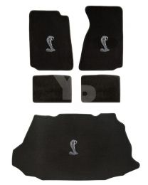 1999-2004 Mustang Convertible Black 5pc Floor & Trunk Mats Set - Cobra Logos