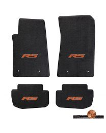2010-2015 Camaro 4pc Ebony Black Classic Loop Floor Mats Set - Orange RS Logos
