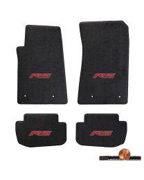2010-2015 Camaro 4pc Ebony Black Classic Loop Floor Mats Set - Red RS Logos
