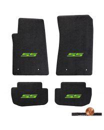 2010-2015 Camaro Ebony Black 4pc Classic Loop Floor Mats Set - Green SS Logos