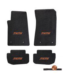 2010-2015 Camaro Ebony Black 4pc Classic Loop Floor Mats Set - Orange SS Logos