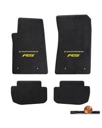 2010-2015 Ebony 4pc Classic Loop Floor Mats - Yellow CAMARO RS Logos On Fronts