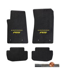 2010-2015 Ebony 4pc Ultimat Floor Mats Set - Yellow CAMARO RS Logos On Fronts