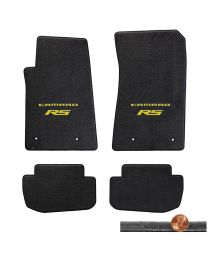 2010-2015 Ebony 4pc Velourtex Floor Mats Set - Yellow CAMARO RS Logos On Fronts