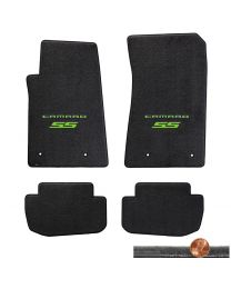 2010-2015 Camaro SS 4pc Ebony Black Velourtex Floor Mats - Green Logos on Fronts