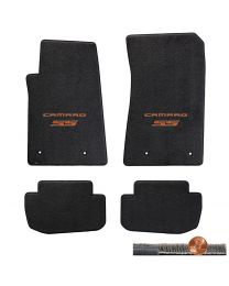2010-2015 Camaro SS 4pc Ebony Black Ultimat Floor Mats - Orange Logos on Fronts