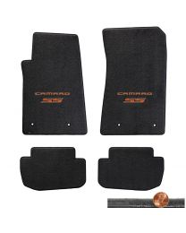 2010-2015 Camaro SS 4pc Ebony Black Velourtex Floor Mats - Orange Logo on Fronts
