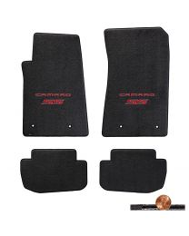 2010-2015 Camaro SS 4pc Ebony Classic Loop Floor Mats - Red Logos on Fronts